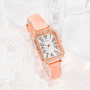Fashion Women Watches Luxury Rhinestone Bezel Case Ladies Casual Compact Square Watches Quartz Wristwatch Leather Reloj Mujer