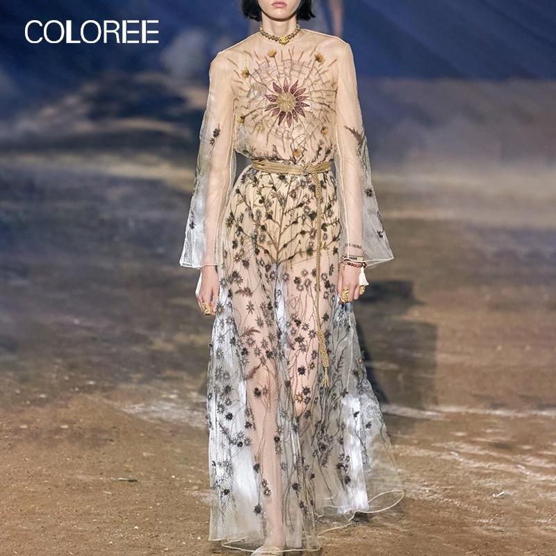 COLOREE European 2019 Women Long Dress Vintage Embroidery Mesh Maxi Dress Long Sleeve Spring Autumn Dress For Female New Fashion