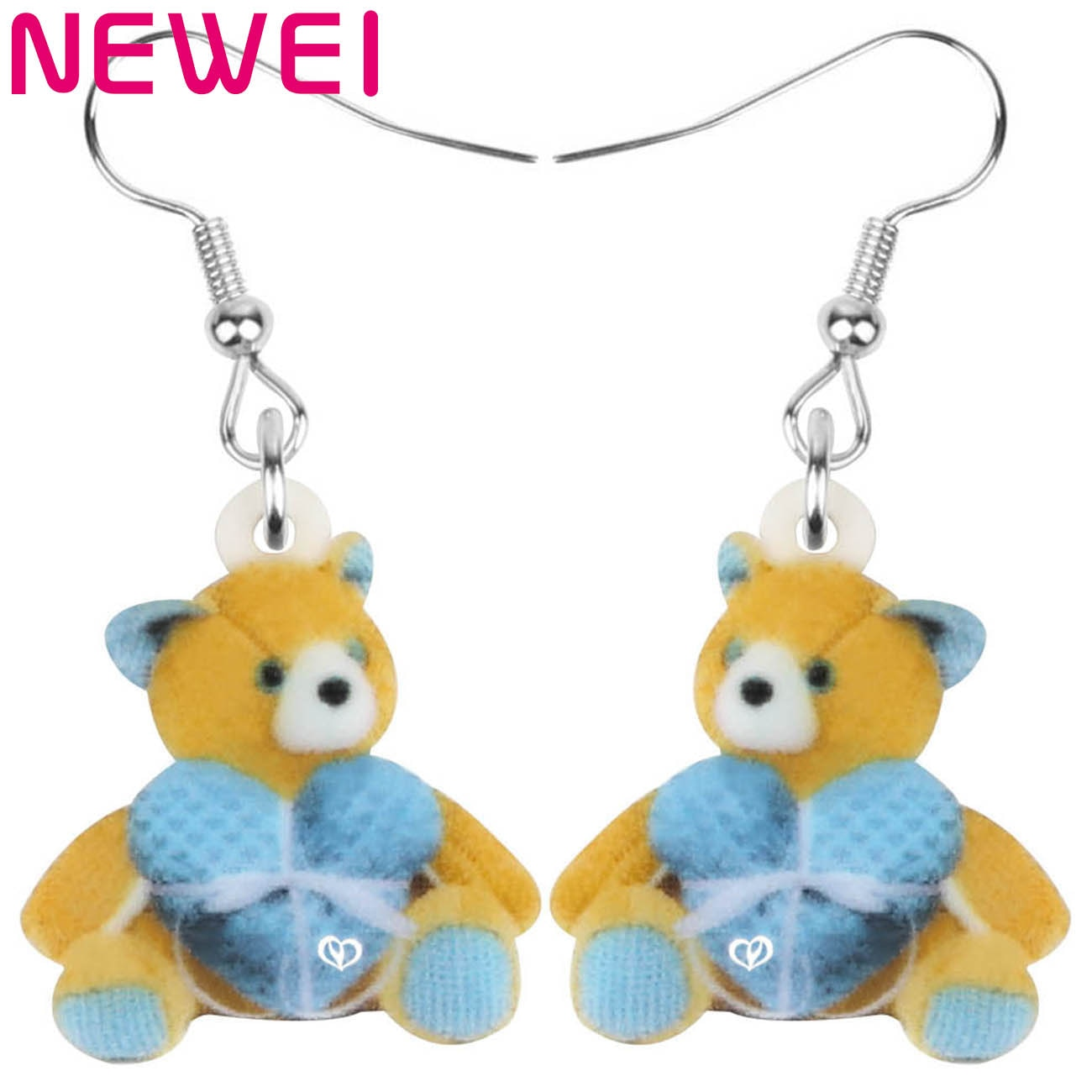 Newei Acrylic Heart Plush Teddy Bear Earrings Sitting Cute Toy Animal Dangle Drop Jewelry For Women Kid Fashion Gift Accessories