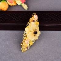 hair clip red garnet barrettes women hair accessories yellow head jewelry handmade chinese ethnic big size hairpin gifts