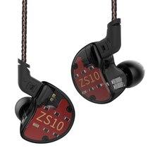 Kz ZS10 Oortelefoon 4BA + 1 Dd Hybrid In Ear Hoofdtelefoon Hifi Bass Headset Dj Monitor Oortelefoon Oordopjes Kz ZS6 AS10 Zst ES4 ED16 BA10