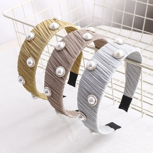 Women's Pearl Headband Korean Mesh Lace Hairband Fashion Hair Accessories Ladies Wrinkle Headband