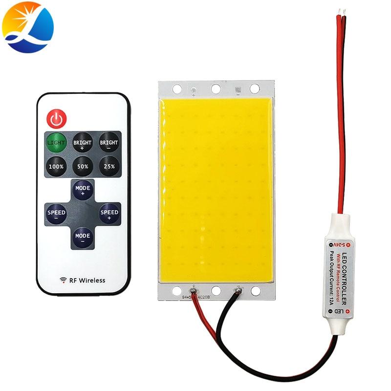 12V COB LED Panel Light with Dimmer Controller 15W 1500LM Warm Nature Cold White DC12V Dimmable LED Bulb for Desklight Work Lamp