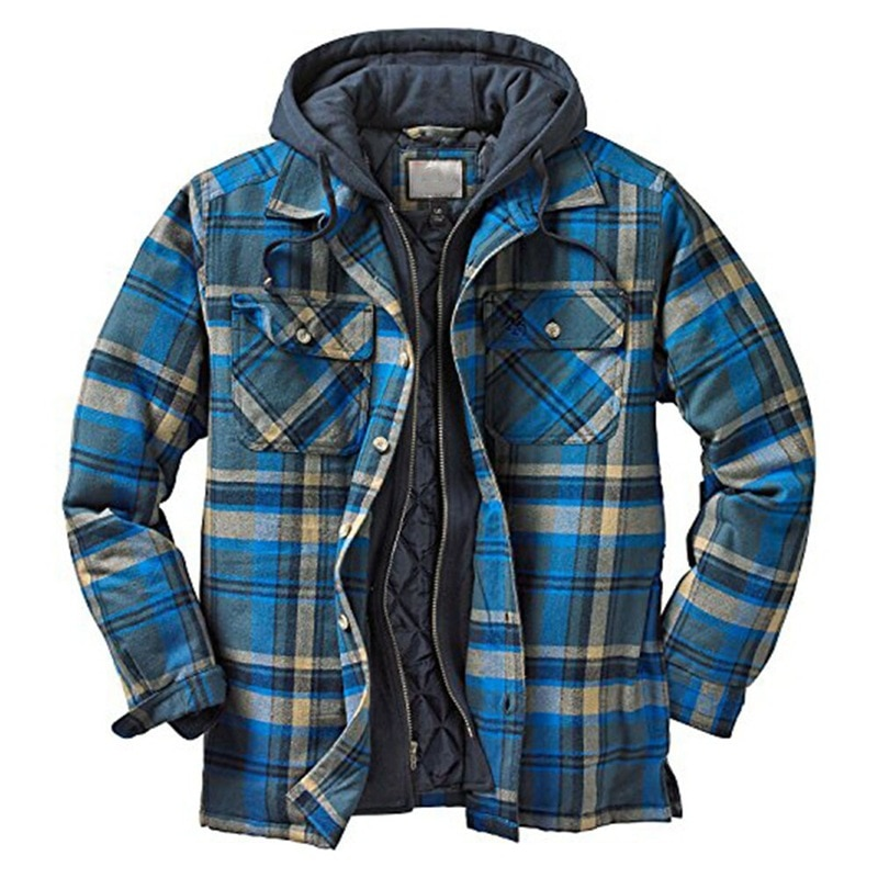 Explosive Men's Clothing 2021 European American Autumn and Winter Models Thick Cotton Plaid Long-sleeved Loose Hooded Jacket