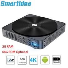 Smartldea M10 4K mini projecteur intelligent 2G RAM 64G ROM option android7.0 wifi BTbeamer construire 7500mAh batterie proyector de jeu vidéo