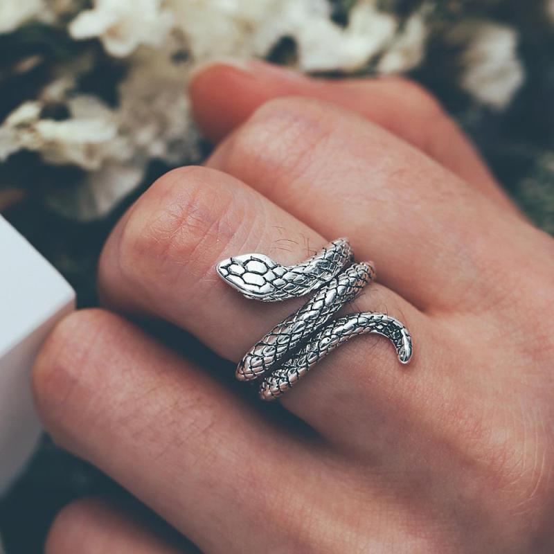 ¡Moda 2020! Anillo de serpiente con forma de Cobra, anillo abierto con temperamento, anillo Vintage de serpiente, regalo de joyería para mujeres y hombres