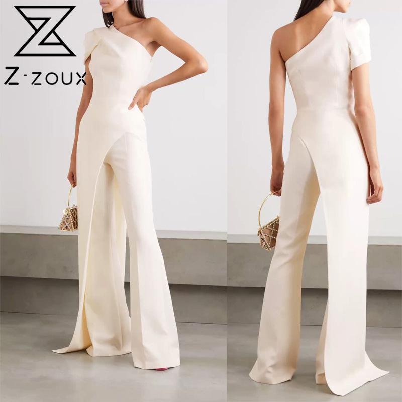 Z-ZOUX المرأة بذلة مزاجه الأبيض ثوب فضفاض للمرأة بذلة غير متناظرة عالية الخصر طويلة حللا الخريف 2021 موضة جديدة