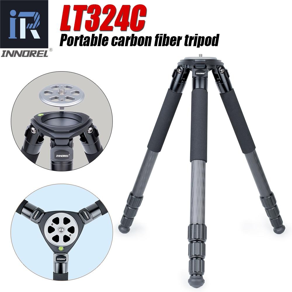 INNOREL LT324C 10 طبقات المحمولة ألياف الكربون ترايبود ل كاميرات فيديو حامل الثقيلة 1.5 متر ماكس ارتفاع 75 مللي متر السلطانية محول