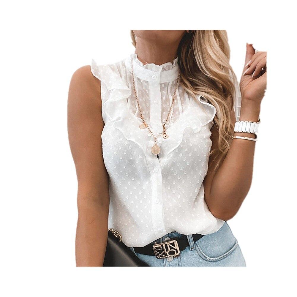 Женская однобортная блузка без рукавов, повседневная Однотонная рубашка с круглым вырезом и воланами, лето 2021