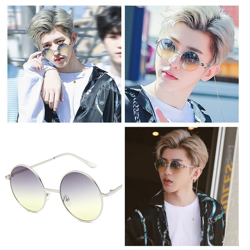 Unisex Korean Style Round Lenses Gradient Sunglasses For Men Boys Retro Small Circle Decorative Sun