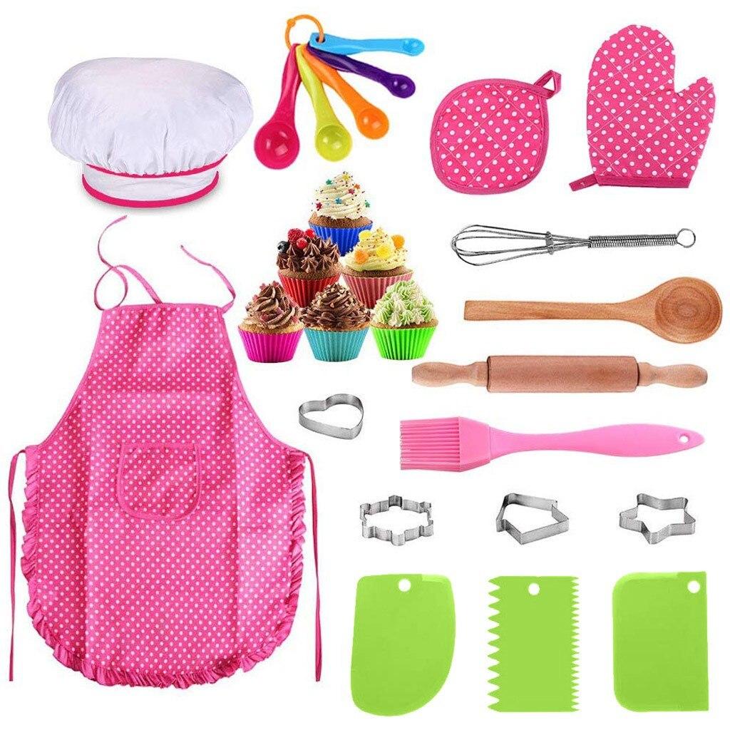 Juego de cocina y Kits de horneado para niños de 25 uds., conjunto de Chef, juguetes para juego de roles, utensilios de cocina, ollas, sartenes, platos de comida