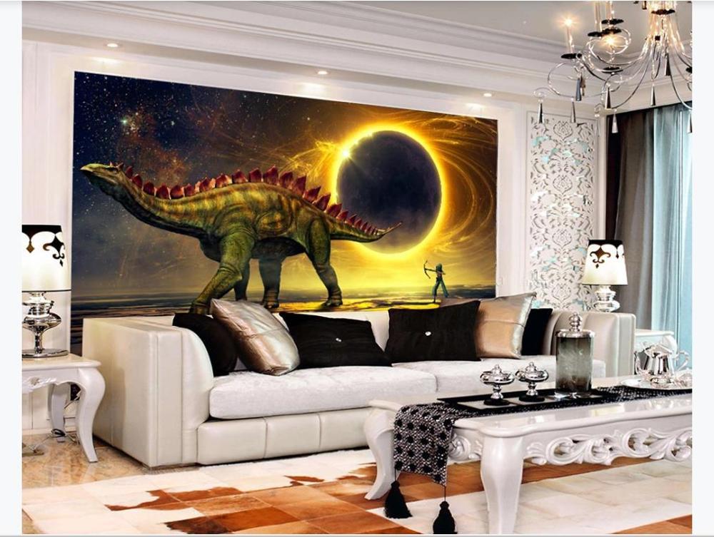Personalizado cualquier tamaño HD 3d dinosaurio universo planeta papel pintado Sala sofe Mural de fondo de TV decoración papel tapiz para paredes 3D