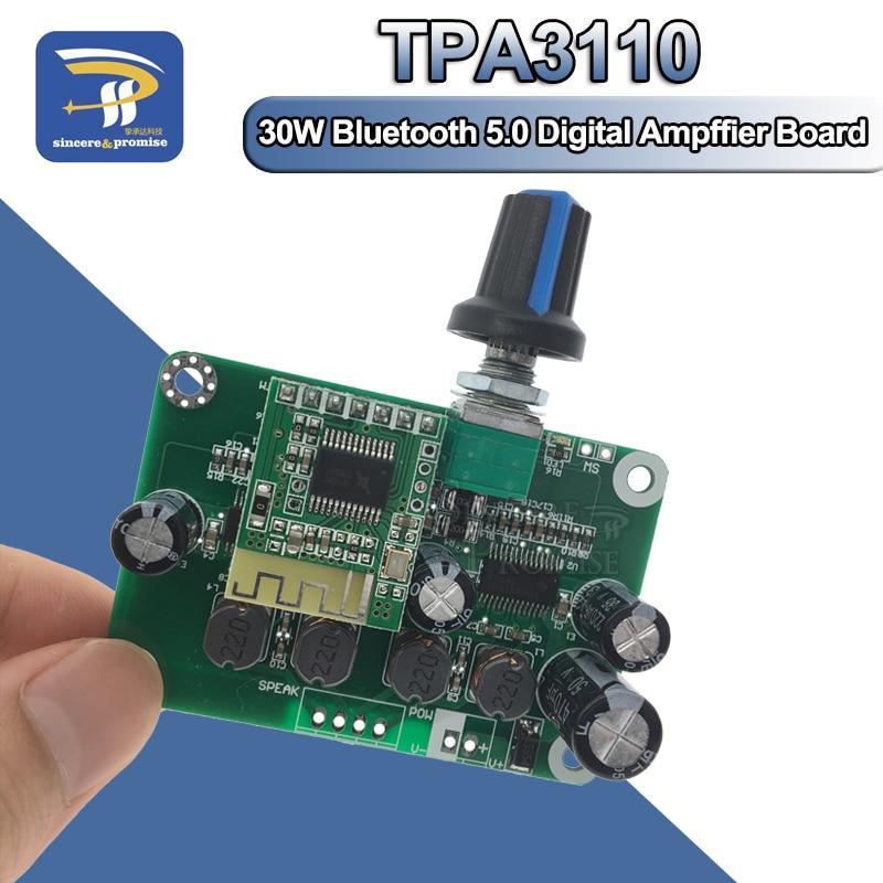 Bluetooth 5,0 4,2 TPA3110 30w + 30W PBTL amplificador de potencia de Audio Digital estéreo Módulo de placa 12V-24V coche para altavoz USB portátil