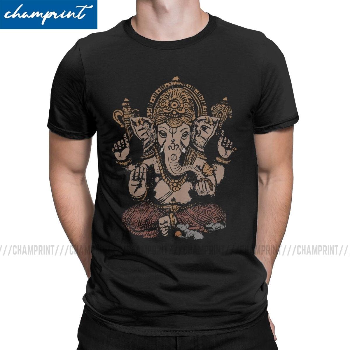 Ganesha, camiseta 3D para hombre, camisetas de algodón impresionantes, Collar redondo Shiva, dios hindú, India, Lingam, camisetas de manga corta, ropa de verano