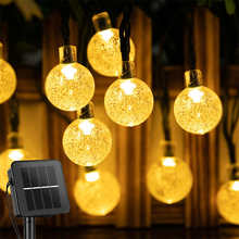 Solar Lamp Crystal Ball String Lights Waterproof Fairy Solar Lights LED Garlands For Christmas Party Outdoor Decoration