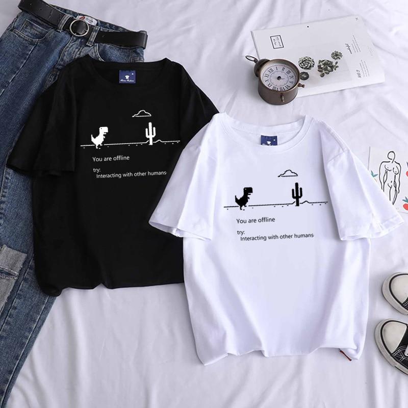 Summer Women Clothing T-shirts New Harajuku Kpop Female Vintage Tshirt Dinosaur Short Sleeve Tops Tees Fashion Casual T Shirt