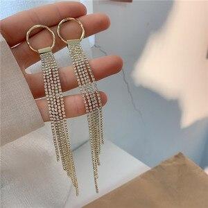 VA-84 Hypoallergenic S925 Silver Needles Drop Earring Geometric Hollow Long Tassel Celebrity Street Style Ear Jewelry For Women