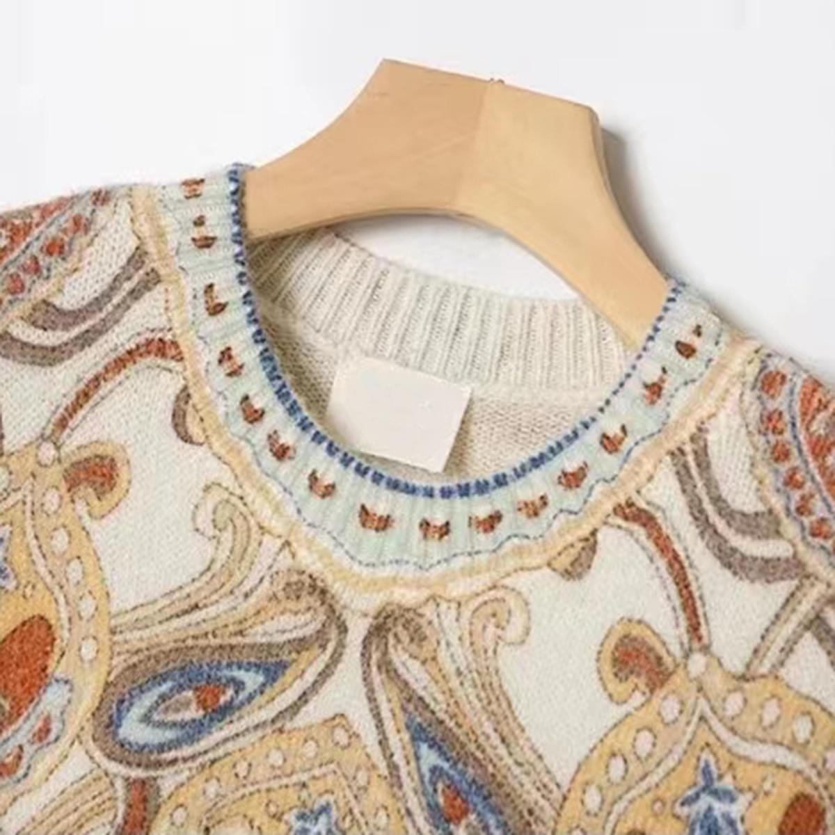Multicoloured Print Sweater Women 2021 Autumn Winter Round Neck Long Sleeve Jumpers Tops Female Vinatge Elegant Mohair Pullover enlarge