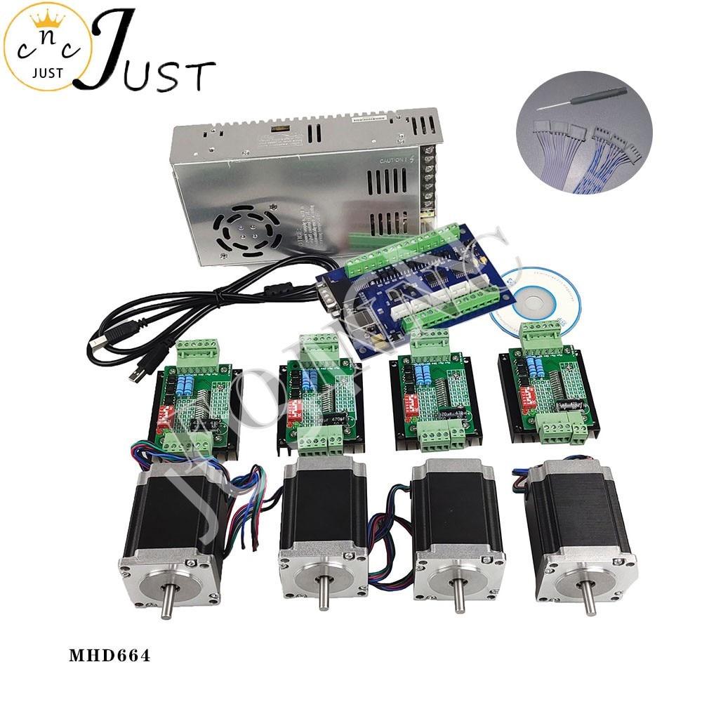 تعزيز ، مجموعة التحكم باستخدام الحاسب الآلي 4 محور ، 4 TB6600 محرك متدرج سائق Nema23 موتور + خط إشارة امدادات الطاقة