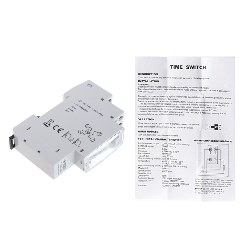 15 Minutes Mechanical Timer 24 Hours Programmable Din Rail Timer Time Switch Relay Measurement Analy