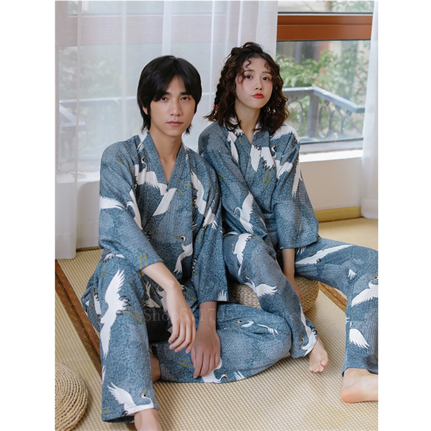 Japonês kimono guindaste ukiyo-e masculino samurai traje de algodão haori azul cardigan feminino pijamas casal pijamas grosso japão vestido