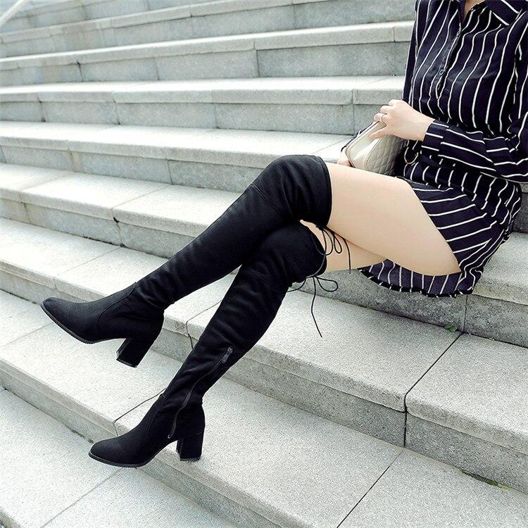 Temporada 2019, botas por encima de la rodilla para mujer, botas altas con fuerza elástica, con código redondo, grueso y con botas