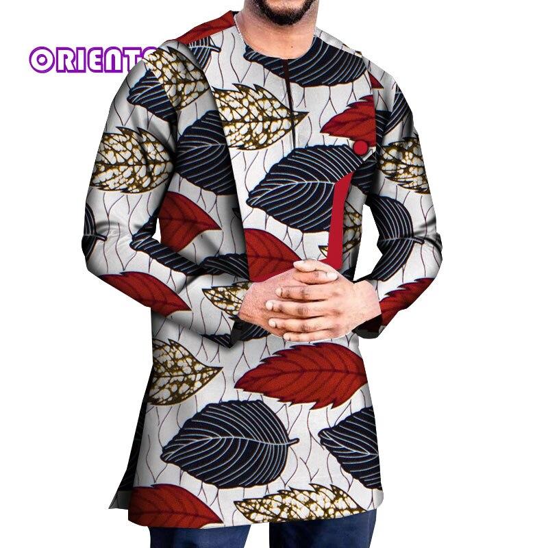 2020 African Shirt für Männer Langarm African Dashiki Hemd Afrikanische Druck Männer der Baumwolle Shirts Tops Afrikanische Kleidung WYN1222