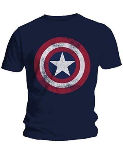 Camisetas de moda para hombres Capitán América escudo desgastado Marvel Comics adulto hombre Camiseta de algodón camisetas M-2XL