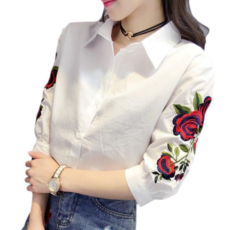 Blusa de rayas blancas bordadas con flores rosas de manga larga para mujer Blusas casuales kimono de oficina para mujer Blusas 2020 Primavera de talla grande 2XL