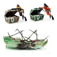 pneumatic fish tank landscaping decoration artificial hunting frogman aquarium oxygen treasure chest ship skeleton captain
