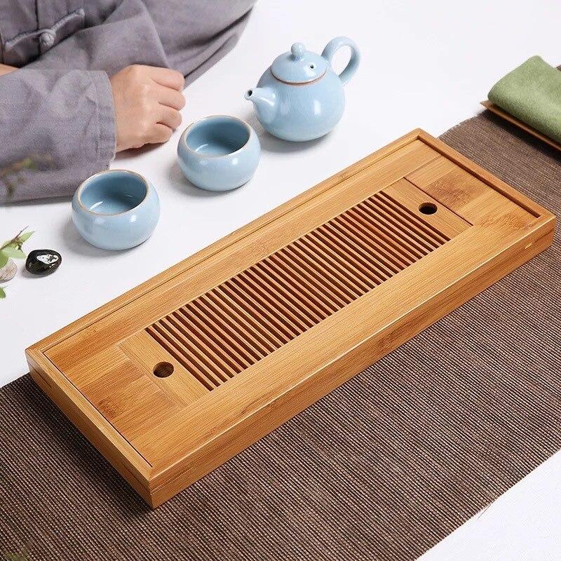 Conjunto de Chá Criativo Retro Chinês Kung Alta Qualidade Bandeja Armazenamento Água Mesa Chá Seco Esteira Bambu Simples Viagem Setlb92409 fu