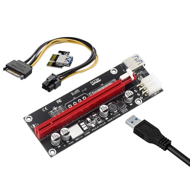 6 قطعة PCIe تمديد كابل PCI-E 1X إلى 16X كبير 6 دبوس USB الرسومات الخارجية محول بطاقة لآلات تعدين البيتكوين