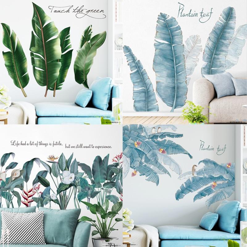 Наклейка на стену с тропическими листьями для детской комнаты, виниловая Съемная наклейка на обои, Современный домашний декор, ТВ фон, художественные фрески