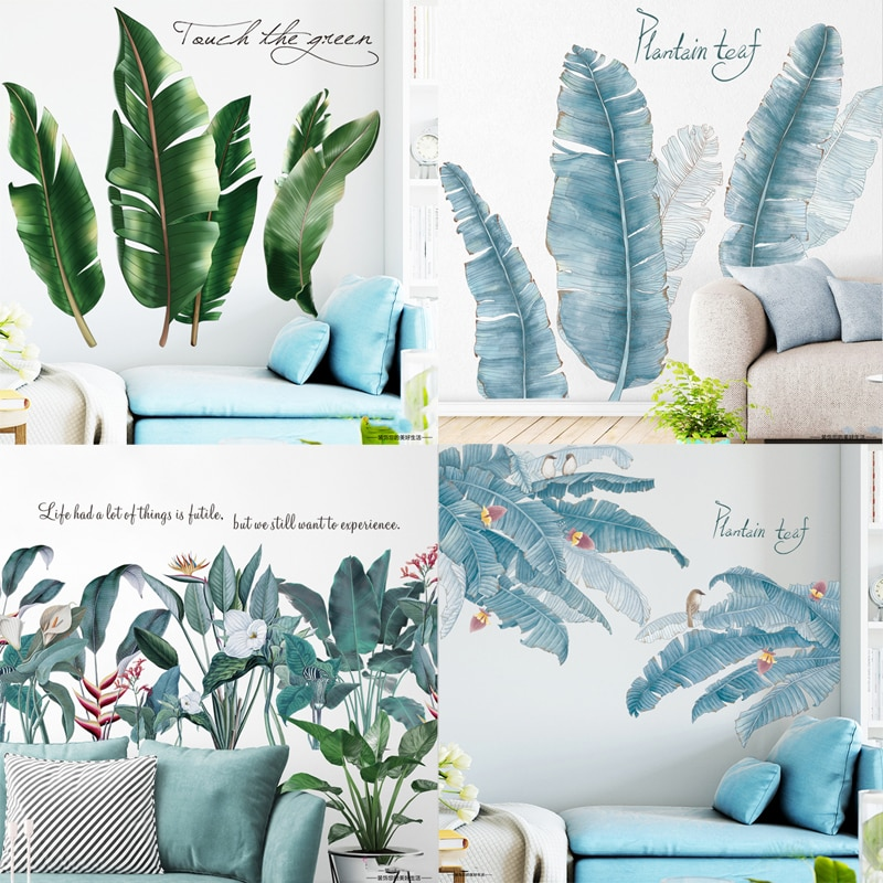 Tropical Blätter Wand Aufkleber Kinder Zimmer Dekoration Vinyl Abnehmbare Tapete Aufkleber Moderne Home Decor TV Hintergrund Kunst Wandmalereien
