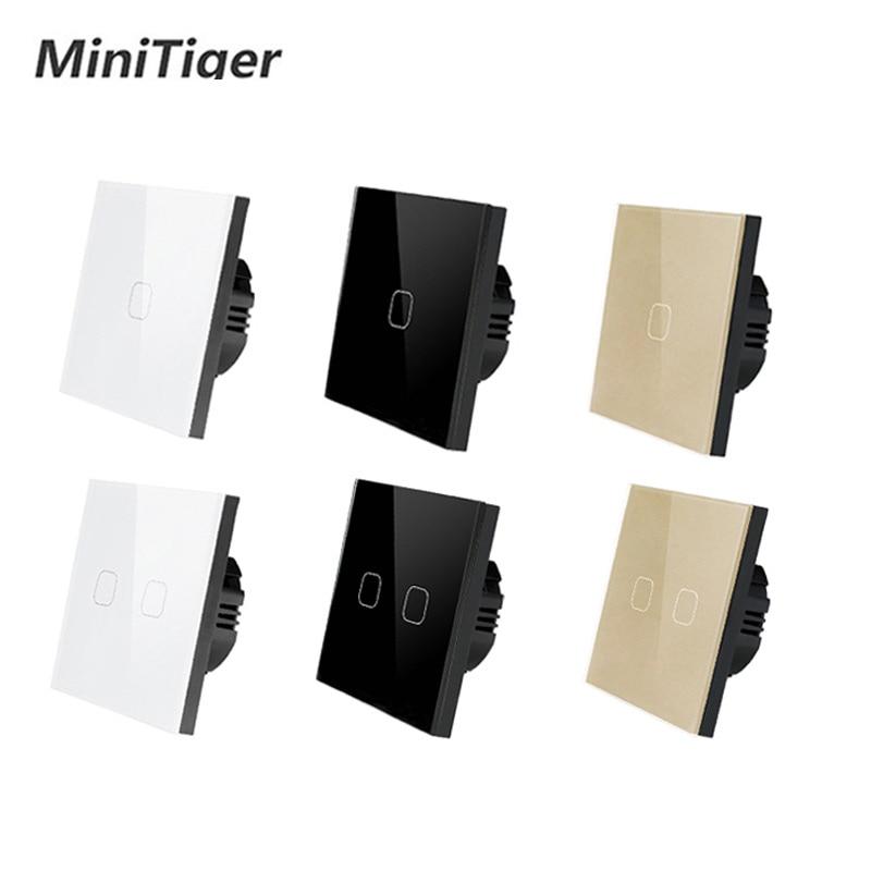 Minitiger EU/UK standard 1 Gang 1 Weg Nur Touch Funktion Schalter Licht Wand Touch Schalter Weiß Kristall Glas panel Touch Schalter