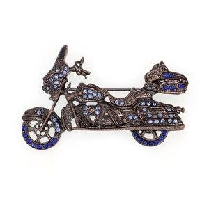 Fashion Jewelry Rhinestone Motorbike Shape  Brooch Pin for Men
