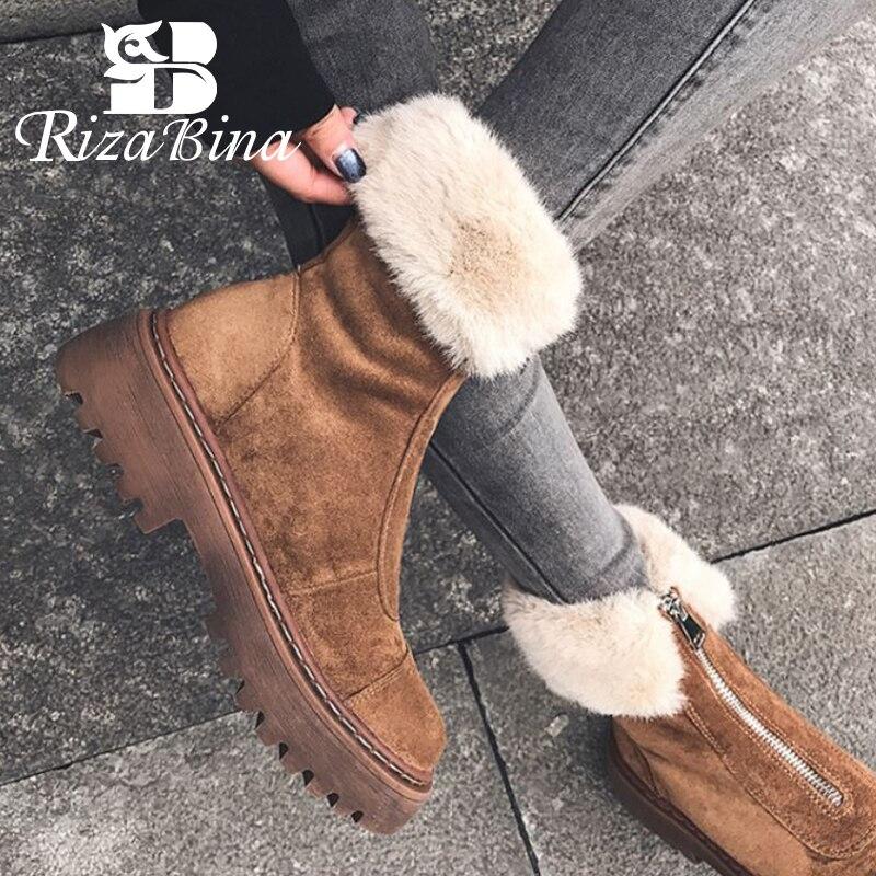 RIZABINA Size 34-43 Women Snow Boots Real Leather Warm Fur High Heel Winter Shoes Woman Plush Fashio