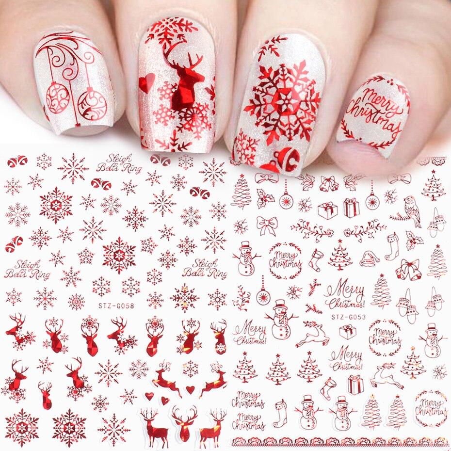 Голографическая Красная рождественская наклейка для ногтей блестящая Снежинка Олень Санта Клаус переносная слайдер зимняя 3D наклейка SASTZG050 058 2 Стикеры и наклейки      АлиЭкспресс