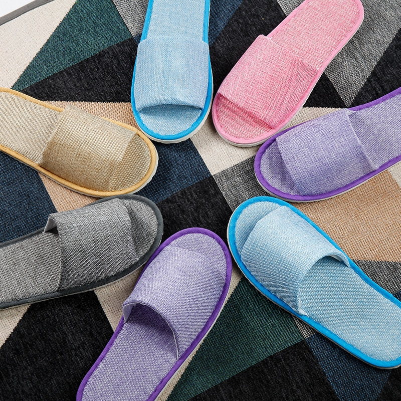 20 pairs Hemp Simple Slippers Men Women Hotel Travel Spa Portable Folding House Disposable Home Guest Indoor Slippers Big Size