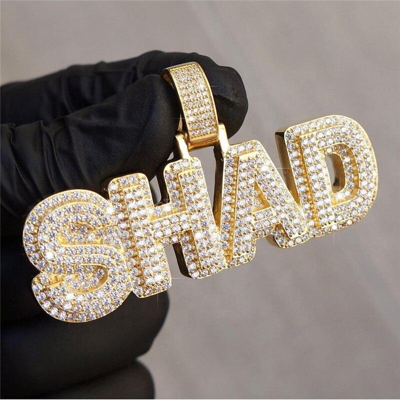 OTIY Custom Hip Hop Diamond Silver VVS Moissanite Jewelry Men S925 Custom Cross Memory Letter Name Pendant