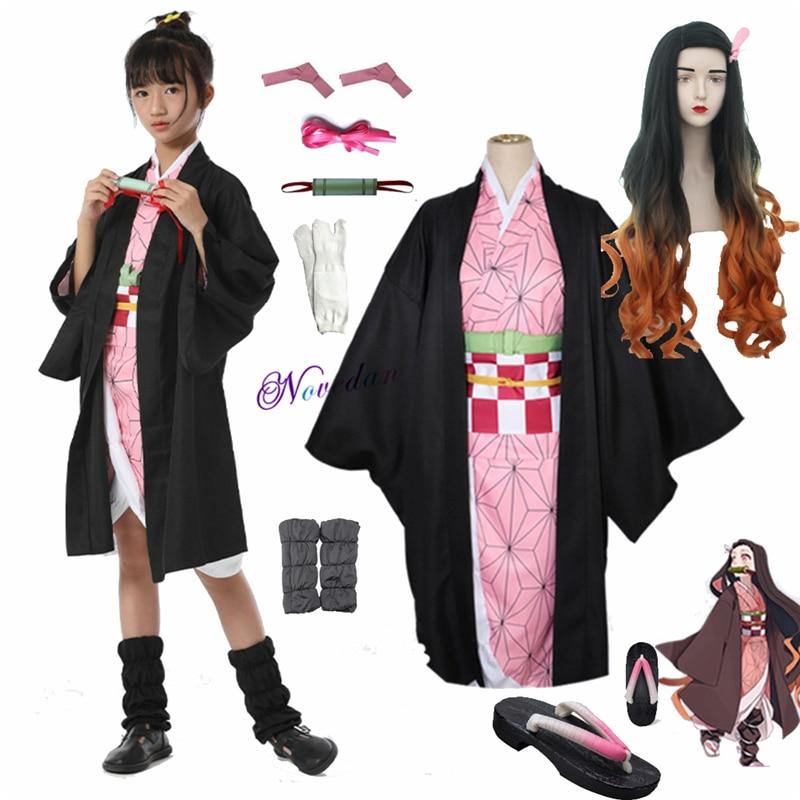 Adult Kids Anime Demon Slayer Kimetsu no Yaiba Tanjirou Kamado Nezuko Zenitsu Shinobu Cosplay Women Kimono Cosplay Costume Wig