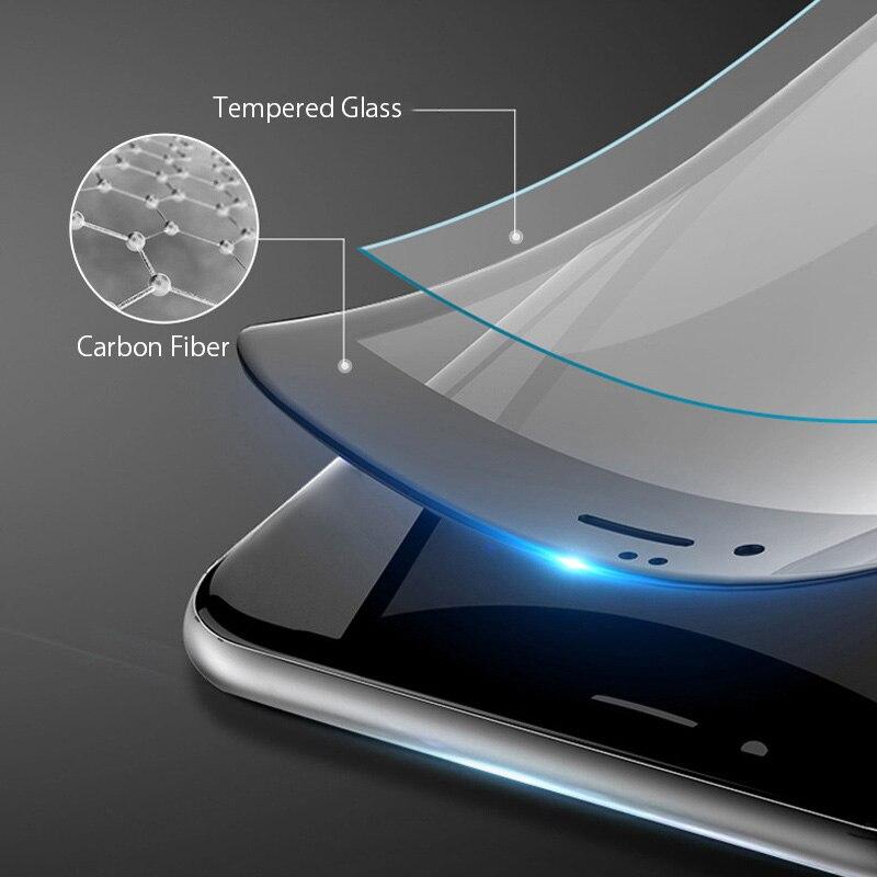 Protecteur d'écran pour iPhone, 3 pièces, Film en verre trempé à bords incurvés pour modèles 7 8 6 6s Plus SE 2020 X XR XS Max