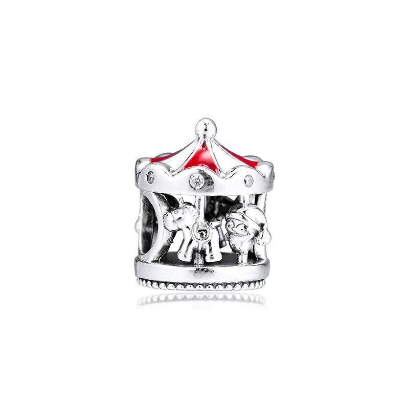 Красные эмалированные зимние серебряные бусины 925 пробы для шармов, браслеты для женщин, ювелирные изделия, рождественские карусели, бусины...