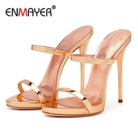 enmayer patent leather solid summer outside luxury shoes women designers slippers women super high thin heels sandals 34 43