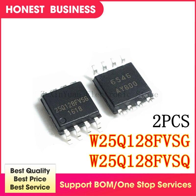 2PCS 100% New 25Q128FVSG W25Q128FVSG 25Q128FVSQ W25Q128FVSQ 25Q128 SOP8 Original IC chip Chipset BGA In Stock