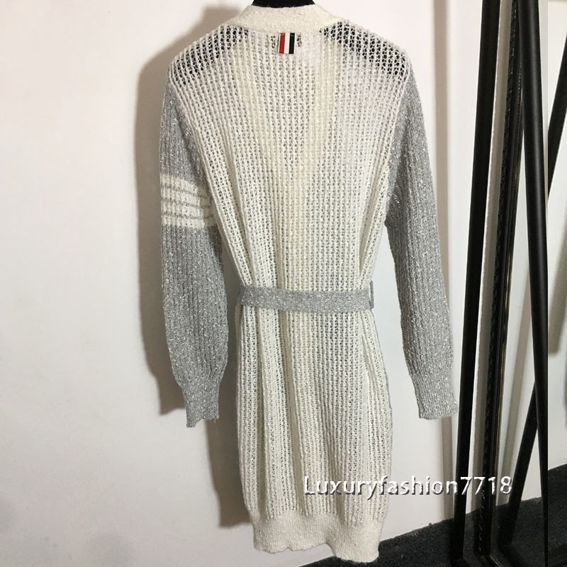 2021 new style fashion high end women Cardigans clothes Hollow out knitting Lace up V-Neck long sleeved cardigan woman sweater enlarge