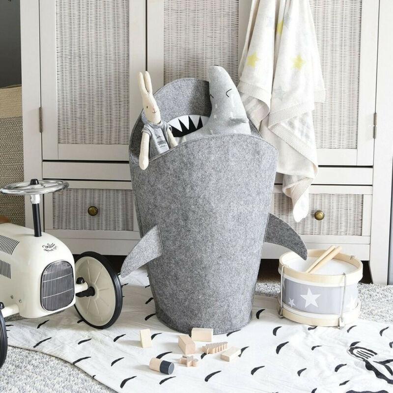1 ud. Cesto plegable para la colada con forma de tiburón de dibujos animados para niños, cesto de almacenamiento de juguetes, cubo, Caja multifuncional de fieltro Premium para el hogar