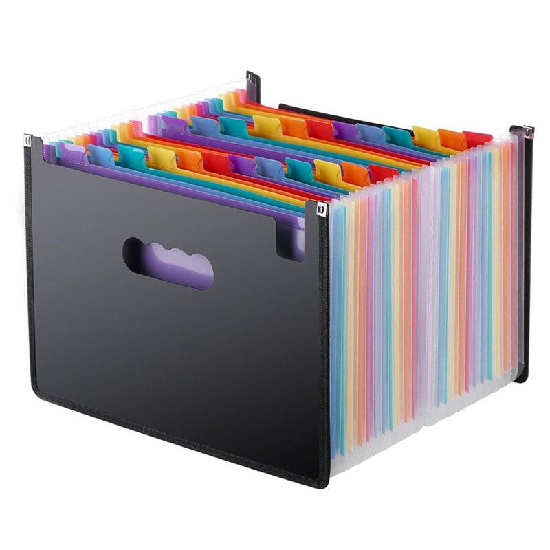 Rozkładana teczka 24 kieszenie, czarny akordeon A4 folder