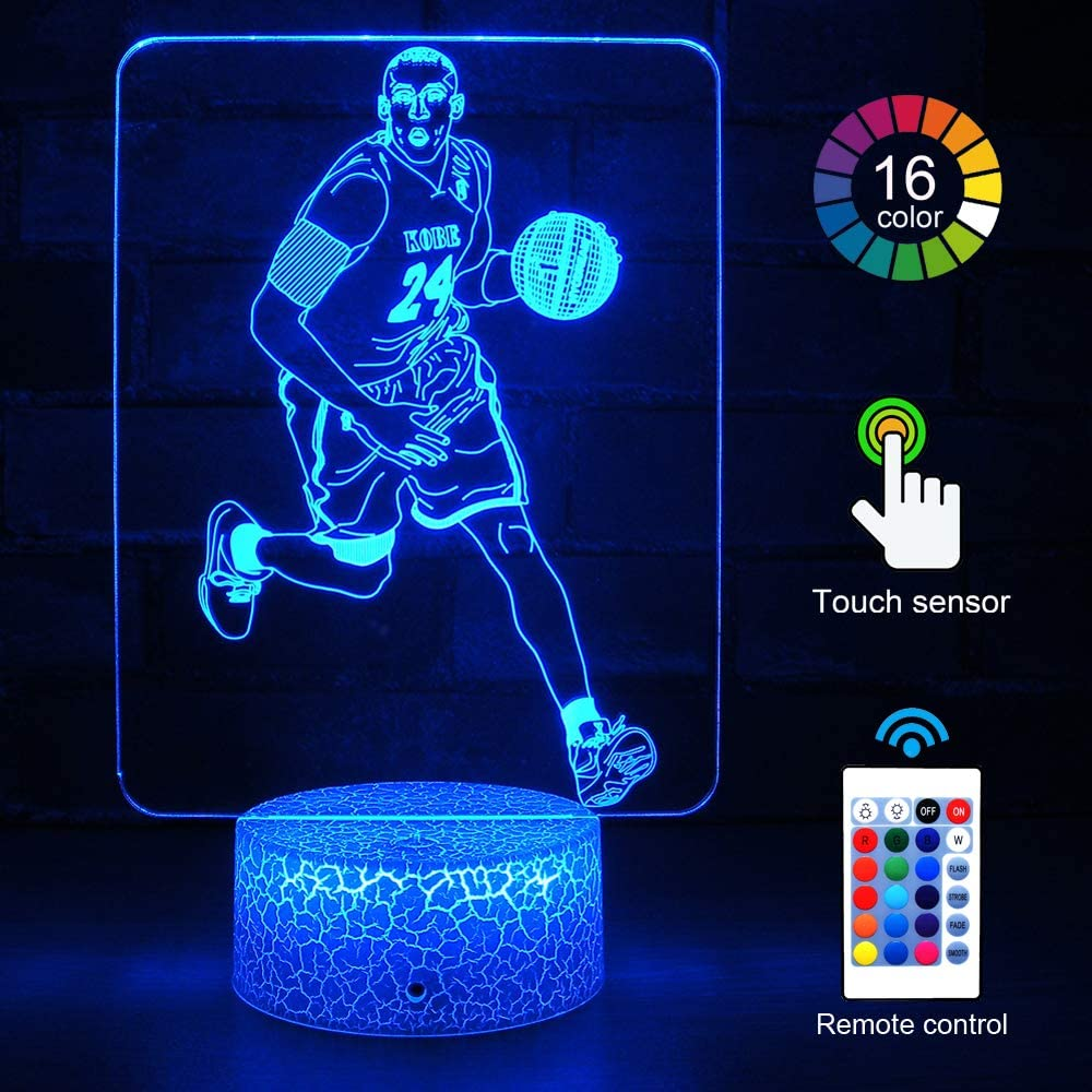 Kobe-مصباح كرة سلة LED ، إضاءة ليلية لغرفة النوم ، مصباح طاولة بجانب السرير ، هدية عيد ميلاد للأطفال ، شحن مجاني