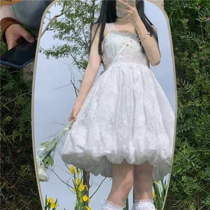 Elegante Prairie Chic Harajuku Kawaii White Summer Dresses Sundresses Summer Dress for Women Vestido De Mujer 2021 New